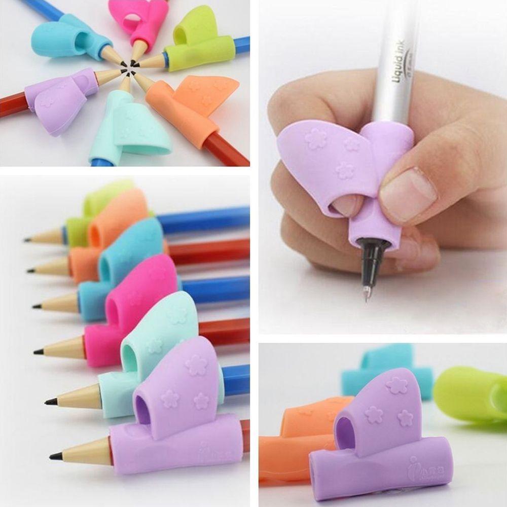 3pcs / set 마법 어린이 실리콘 연필 홀더 펜 쓰기 보조 그립 자세 교정 장치 도구 학생 고정 선물 장난감