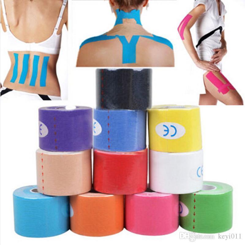 Nuevo 5 cm x 5m Kinesiology Roll Algodón Elástico Elástico Adhesivo Músculo Deportes Cinta Vendaje Physio Strain Lesion Support Y711
