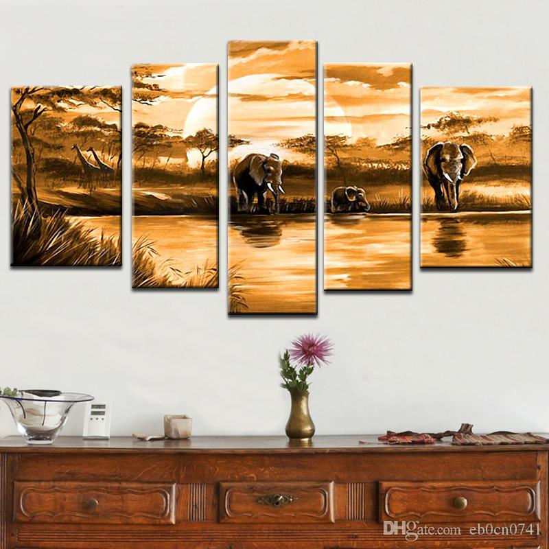 Mehrteilige Kombination 4 teile / satz 100% handgemaltes Modernes Ölgemälde auf Leinwand Afrikanischer Elefant Tier abstrakt an der Wand