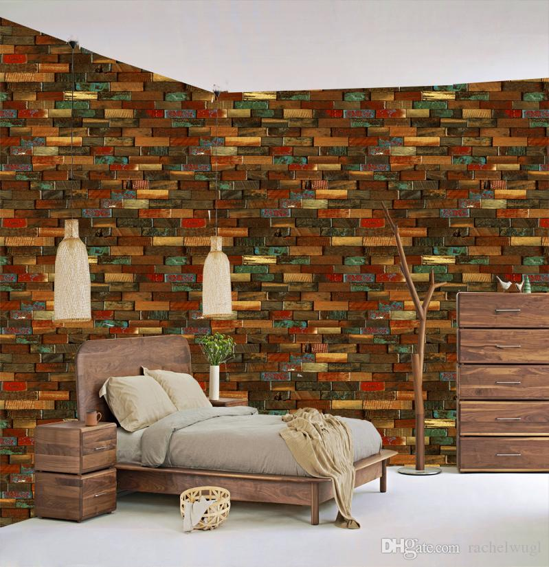 Wholesale Vintage Brief Wall Sticker Wall Bricks Pattern Waterproof Wallpaper Bedroom Living Room Sticking Decoration Decal Free Wallpapers Download