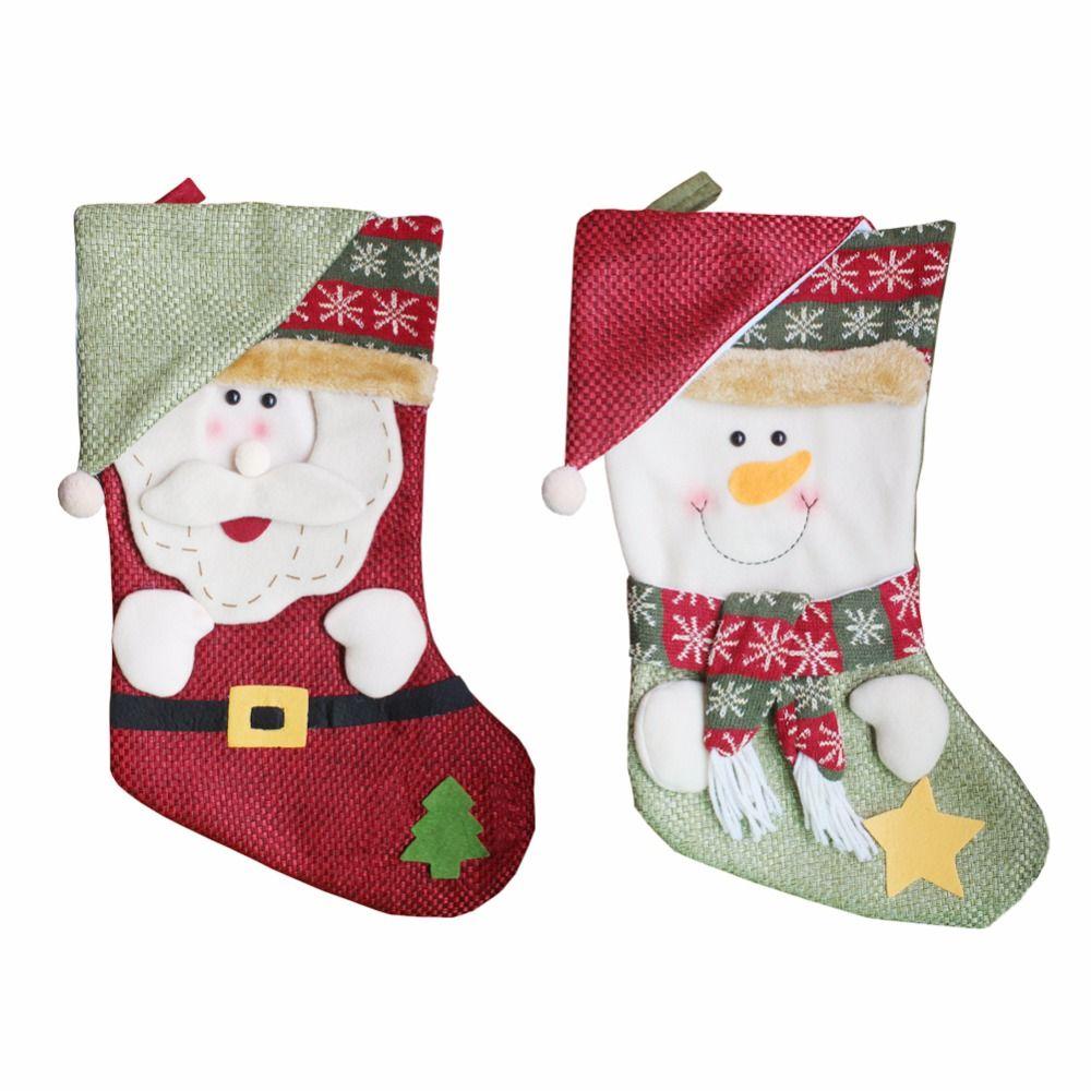 2pcs / lot nouvelle chaussettes de noël père noël grande pendaison sac cadeau bonbon bonhomme de neige décorations de noël