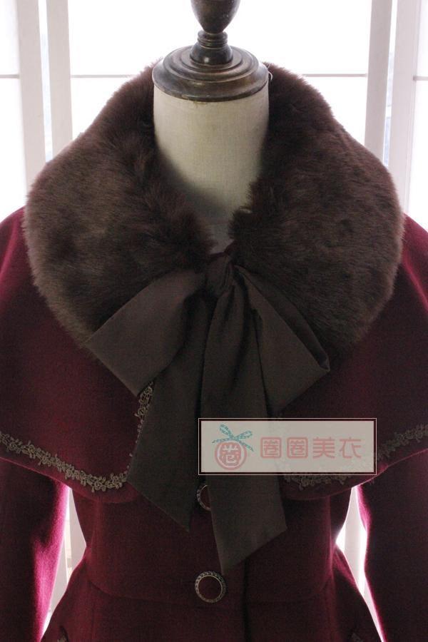 Abrigo de lana de invierno de mujer vintage Abrigo de pata de gallo y falda dulce con capa de piel sintética