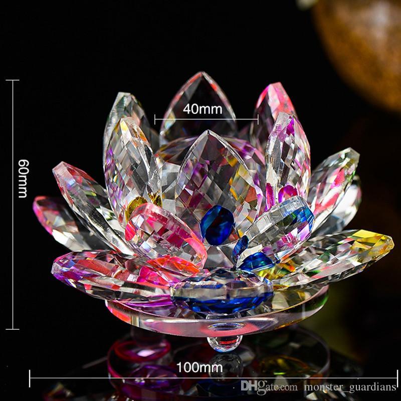 100mm K9 Cristallo Fiore di loto Artigianato Feng Shui Ornamenti Figurine Fermacarte di vetro Regali di festa Decorazione di nozze Souvenir