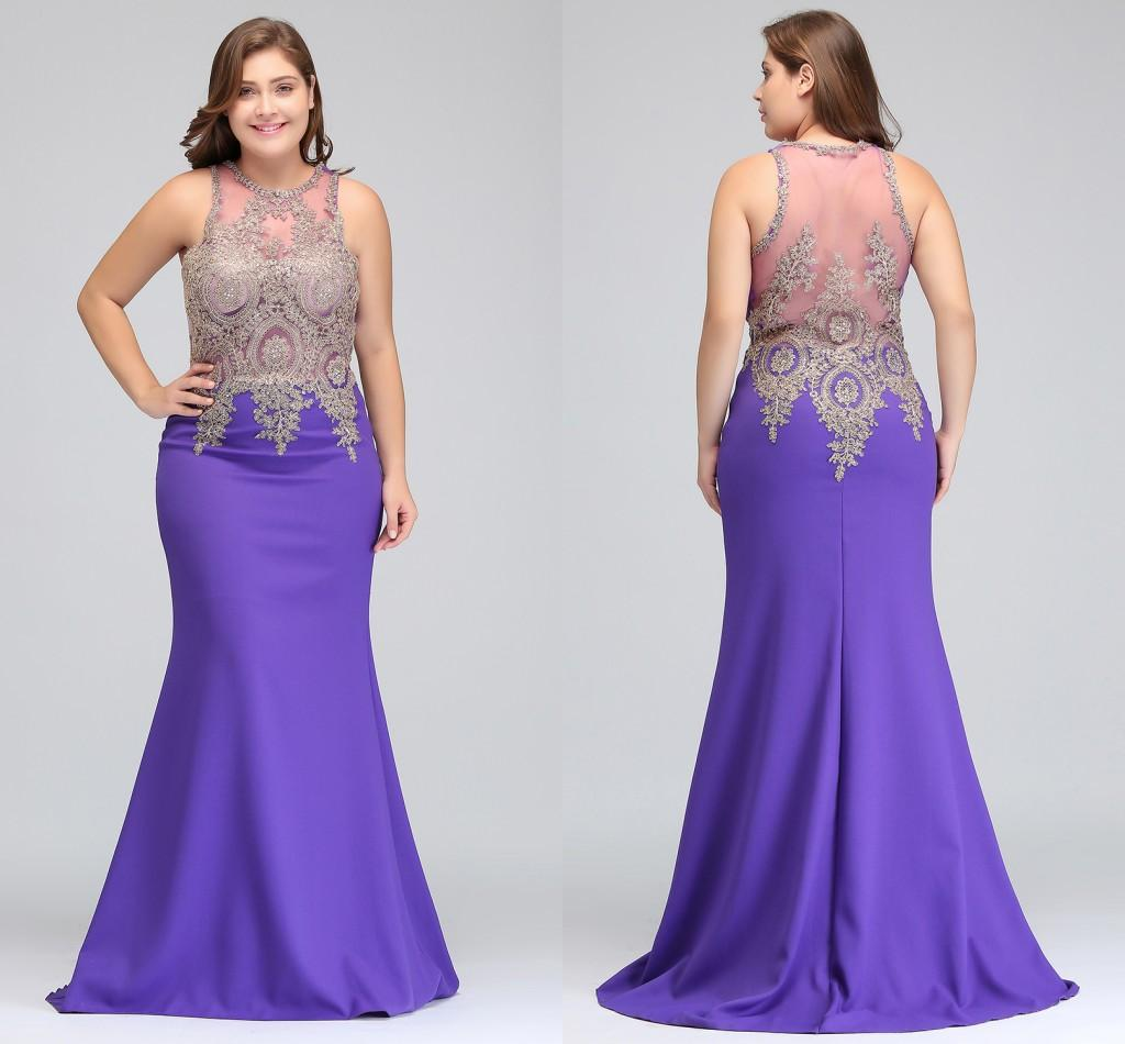 2018 Designer Occasion Dresses Lavender Plus Size Evening Gowns Illusion  Back Stretch Satin Formal Mermaid Prom Wear CPS525 Plus Size Evening  Dresses ...