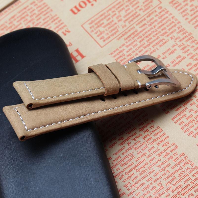 Pulseiras de relógio de couro liso pulseiras com fivela de pino de aço inoxidável 24mm luz brown watch pulseira para marca pesada relógio frete grátis