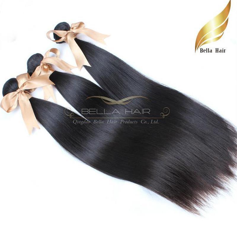 """10 """"-24""""ハイグレード100%ブラジルのバージンヘアエクステンション天然髪の緯ご3本/ロットストレートヘアウィーズダブルサイドベラエア"""