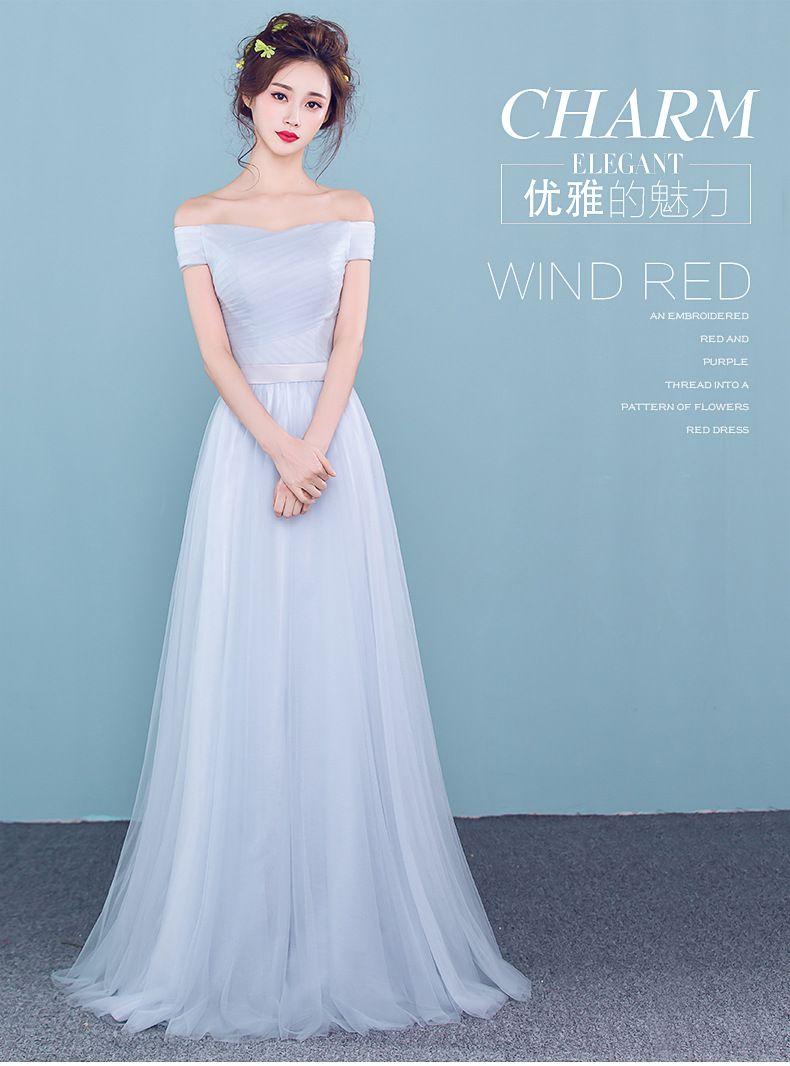 2016 Evening Dress Spring Long Korean Word Shoulder Party Dress ...