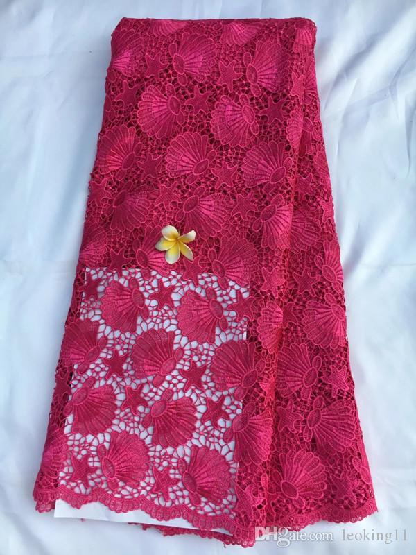 Luxury fuchsia african party cord lace with flower embroidery water soluble guipure lace fabric for dressing QW16-4