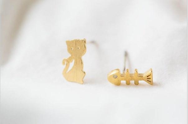 Mode chats mangent poisson boucles d'oreilles composites femmes belles boucles d'oreilles en gros livraison gratuite festival meilleur cadeau