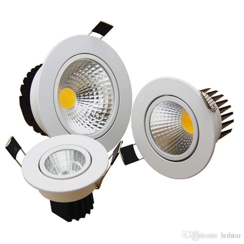 COB LED Downlight High Power 9W 15W 20W Dimmable LED Down Lights Inbyggd lampor AC 110-240V