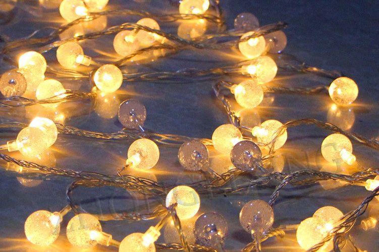 2M 20 LED warmes weißes wasserdichtes geführtes Kugelschnurlicht führte Kristallkugelschnurhochzeitsweihnachtsweihnachtsfeiertags-Girlandendekoration