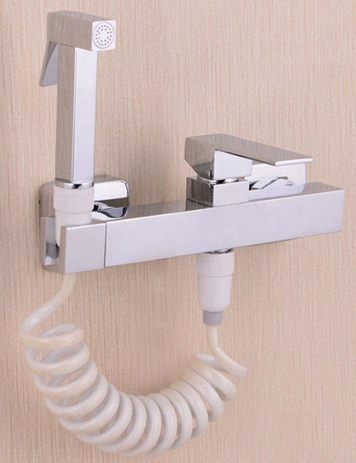 kupfer chrom Messing WC Hand Bidet Spray Shattaf + Heiß Kaltwasserventil Mischer mit Halter bidet Sprayer Dusche Set Jet