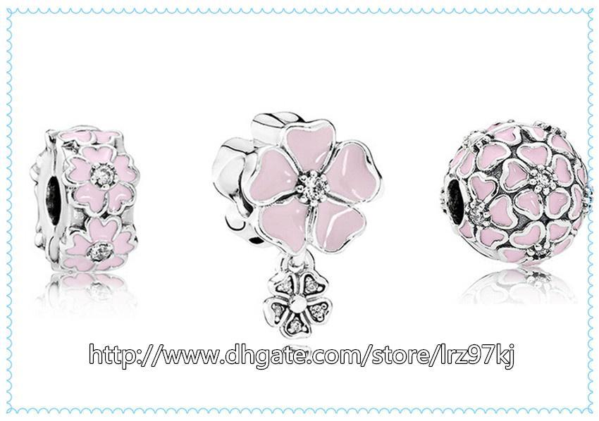 La nuova primavera 2016 S925 Charms in argento sterling e perle in vetro di Murano si adattano ai braccialetti-SP03