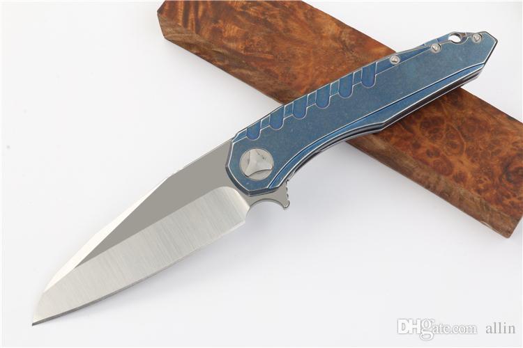 Продвижение продвижение флиппер нож D2 атласная лезвие синий stonwashed стальная ручка EDC карманные складные ножи шарикоподшипные шарики