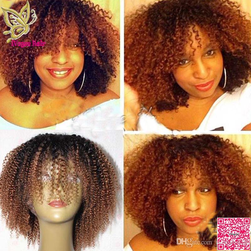 중간 어번 옹 브레 전체 레이스 가발 인간의 머리 브라질 인간의 머리 아프리카 킨키 곱슬 레이스 프론트 가발 흑인 여성을위한 2 톤 색