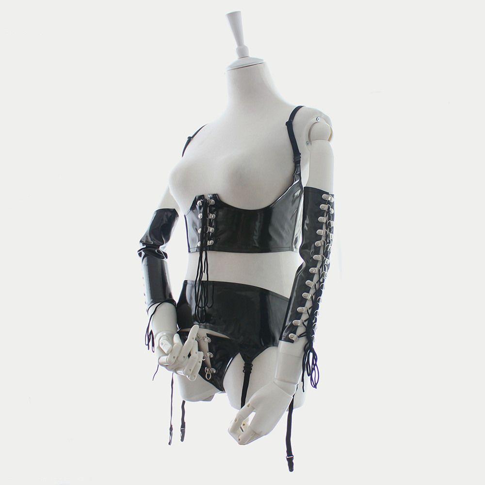 Yeni Tasarım Sexy Lingerie Seksi Deri Bodysuit Bdsm Deri Elbise Dominatrix Kostüm Kol Binder T-Geri Jartiyer Kemer Seks Oynamak Için B0402027