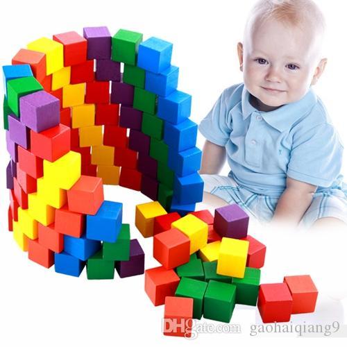 متعدد الألوان خشبية ولعب اطفال ما قبل المدرسة ألعاب مونتيسوري التعليمية للأطفال طفل 100 كتل مربعة ستيريو الطفل نظام صندوق الإيدز المعركة