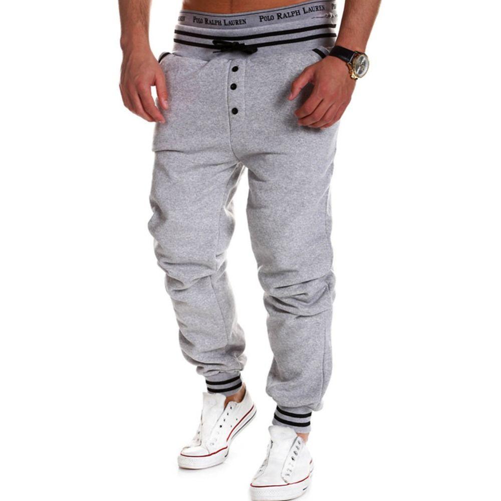 Al por mayor-Ropa de gimnasia para hombre Casual Jogger Rock hombres Harem Joggers Baggy Hip Hop Dance Jogger Sport Sweat Pants Male Pantalones 01c0114