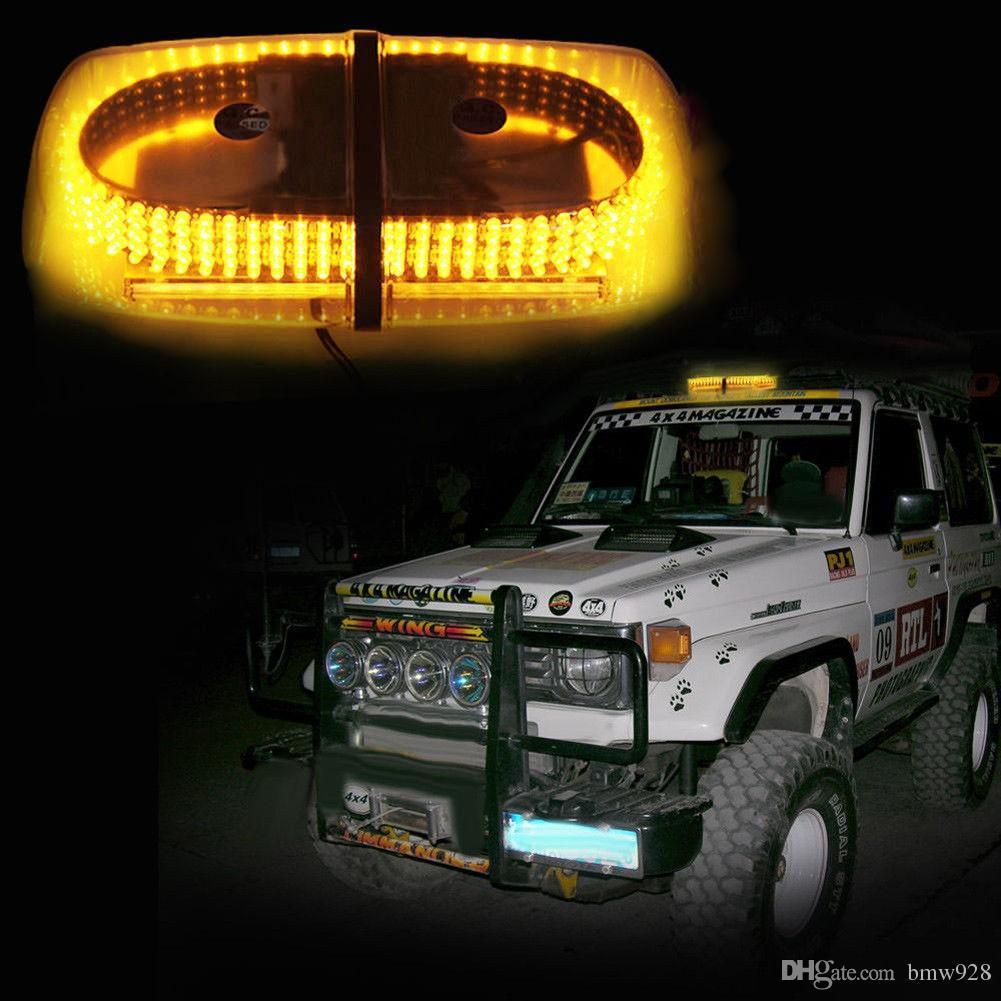 4PCS / LOT 앰버 (240) 옥상 비상 위험 경고 플래시 LED 비콘 스트로브 빛 미니 라이트 바