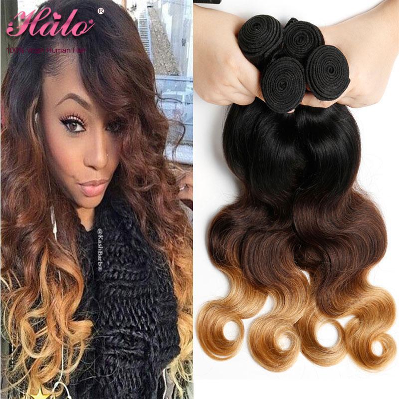 Brazilian Human Hair Weave Bundles 4 pcs Non Remy Hair Extensions 3 Tone Blonde Ombre Body Wave #1B/4/27 human hair bundles with closure