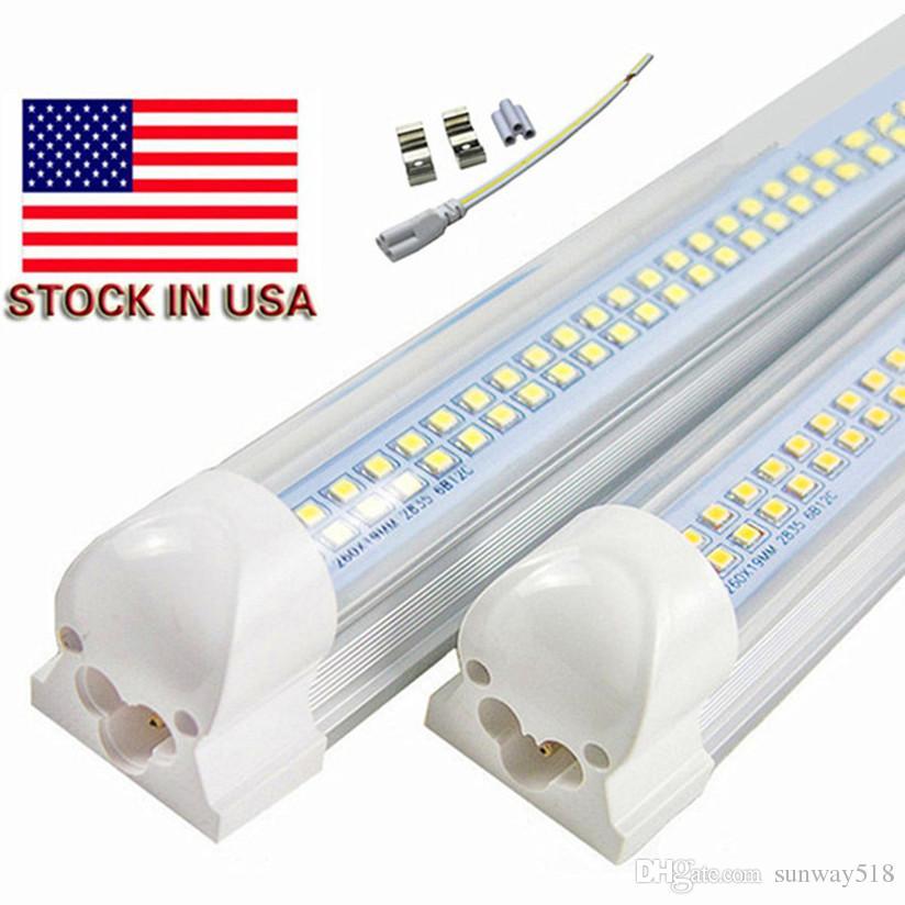 Stock In Us 4ft 8ft Led Tubes Light 72w Integrated T8 Led Light Tube 8 Feet Double Sides 384leds 6800 Lumens Ac 110 240v Led Tube Fixture Lamp Tube