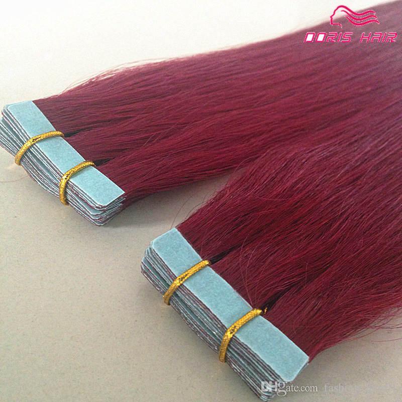 bande de vente chaude couleur 40 pcs Silky humain Tape droit Peruvian extensions de cheveux Extensions de cheveux DHL sans cheveux remy