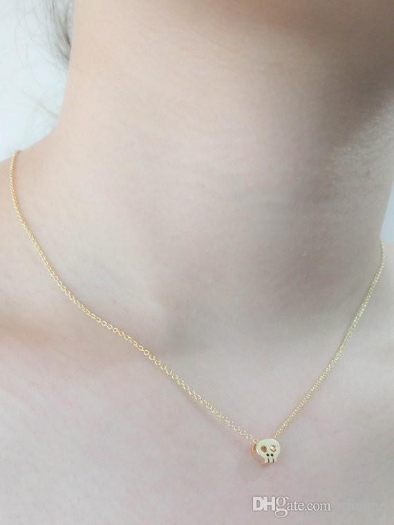 Minúsculo bonito crânio colar crânio charme colar cool delicado colar para senhoras