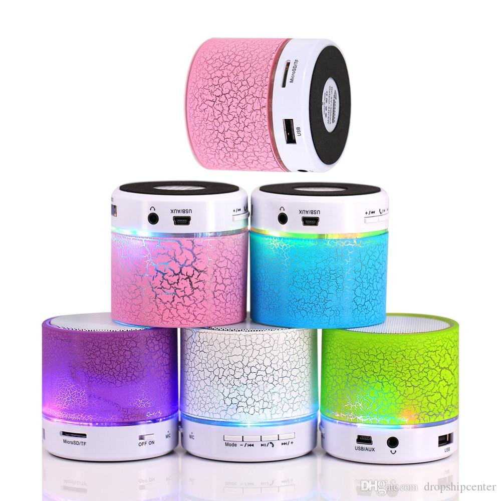 A9 Mini Portable Bluetooth Haut-Parleur Sans Fil Stéréo Subwoofers LED Lumière Construit en Micphone Soutien TF SD Carte FM Radio Ligne dans