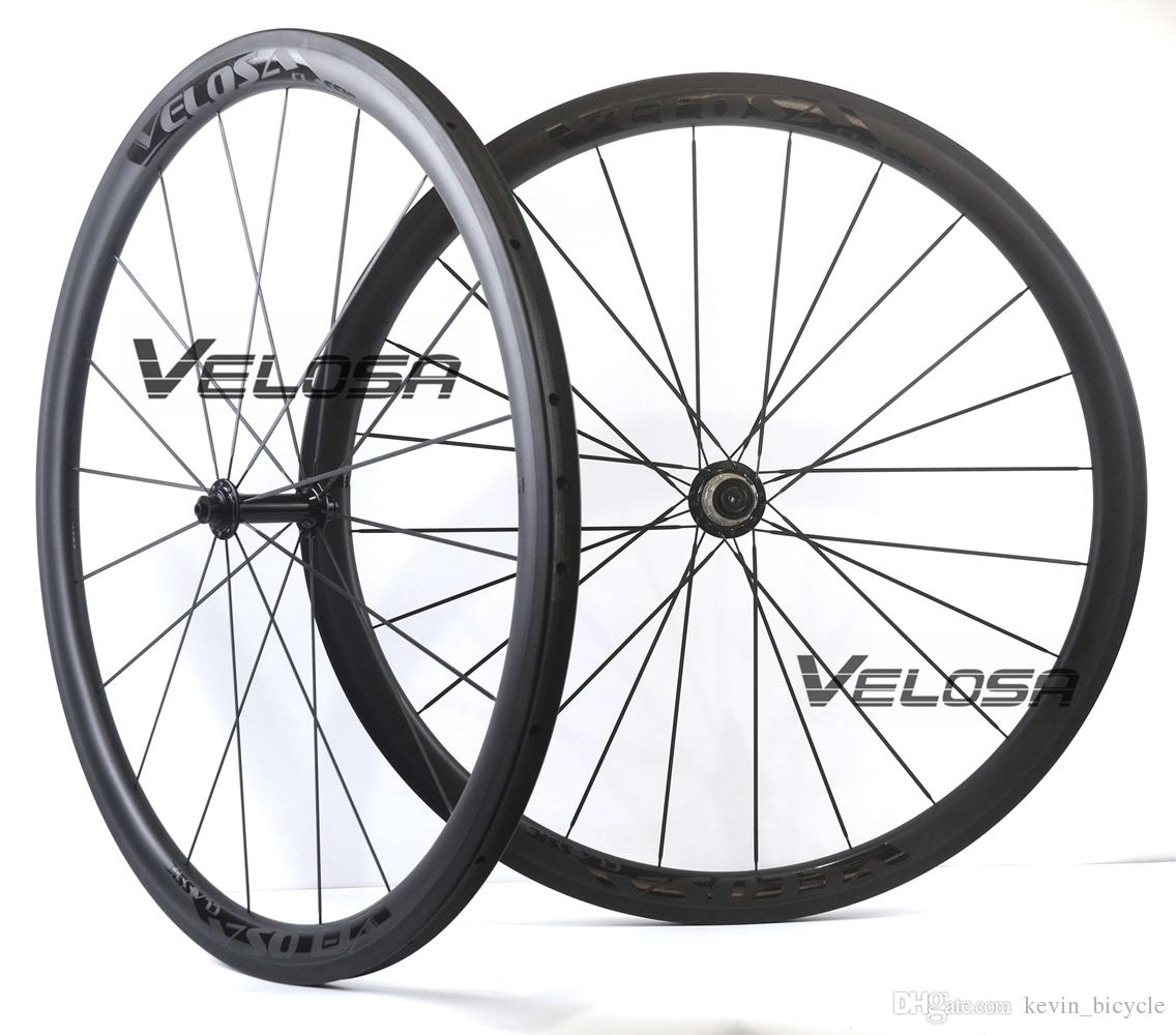 Velosa Race 30 black series road bike carbon wheelset,700C road bike wheel,38mm clincher/tubular,Ceramic bearings, super light