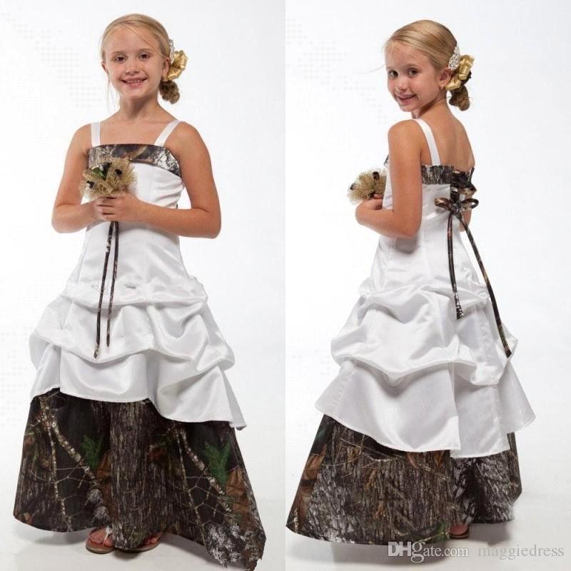 2016 nuevas muchachas de la flor de Camo viste el camuflaje ata para arriba los vestidos de dama de honor menores una línea piso longitud los vestidos de boda de la boda BA1784