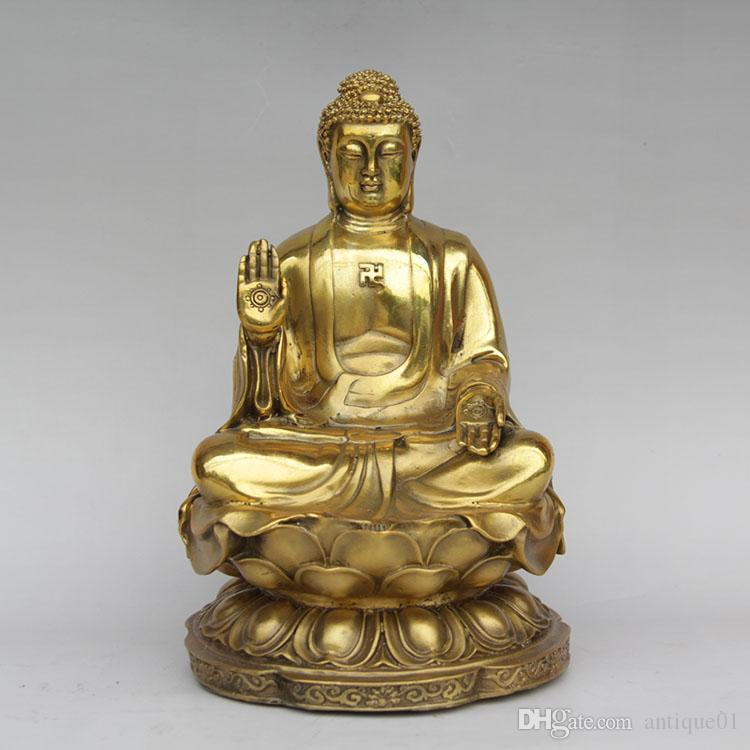 Wooden Buddha Statue Carvings Figurine Sculptures on Lotus Flowers Ornament