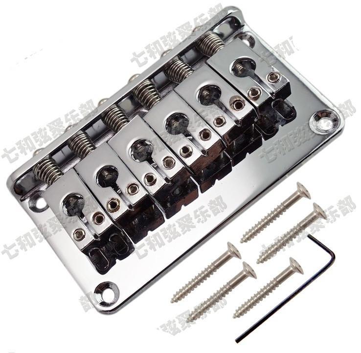 parti per chitarra argento 6 Saddle Hardtail Bridge Top Load 76mm ponte per chitarra elettrica Accessori per strumenti musicali
