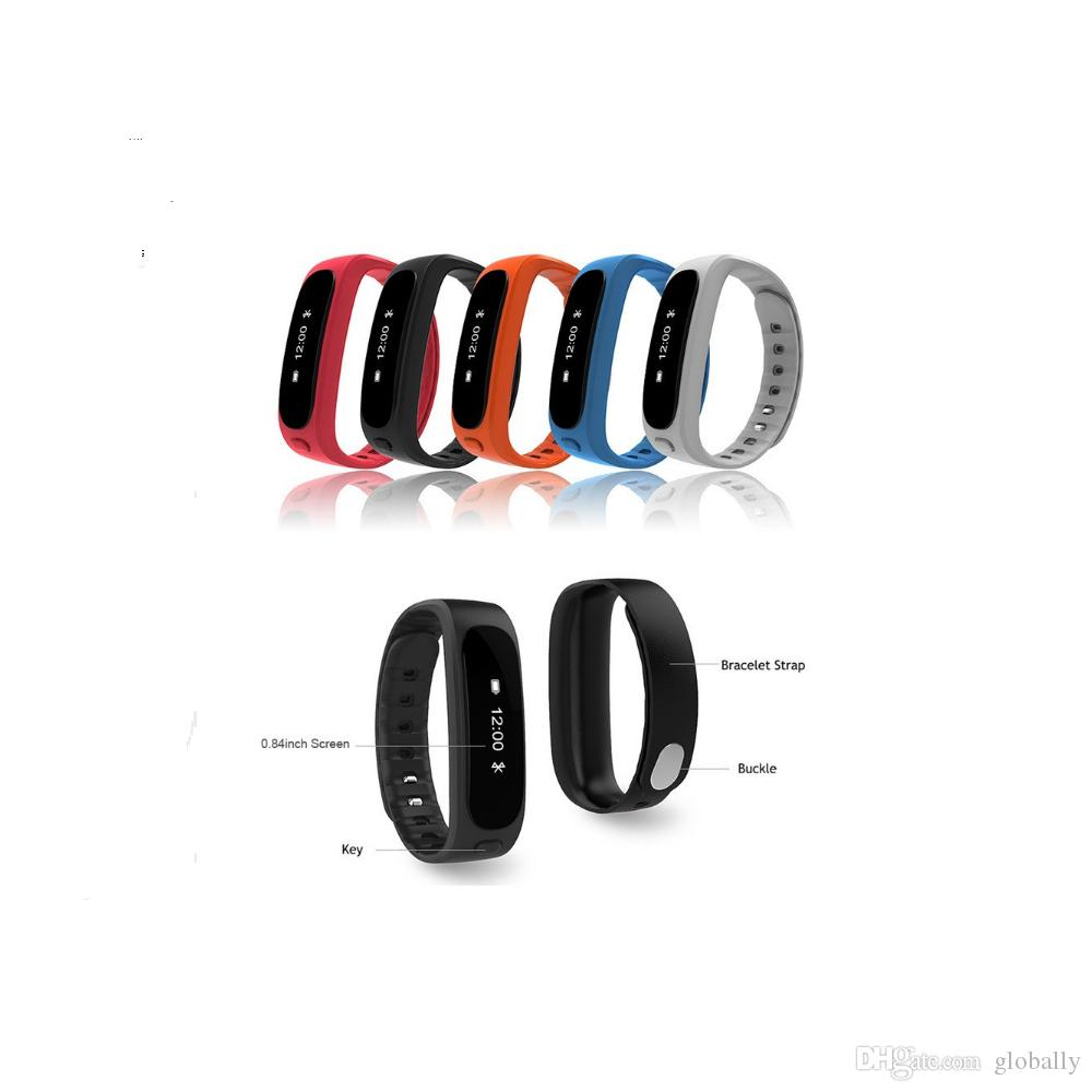Commercio all'ingrosso H9 Smart Steps Distance Monitor Calorie Obiettivo Display Longtime-Sitting Smart Wristband Barcelet Bluetooth 4.0 per IOS / Android