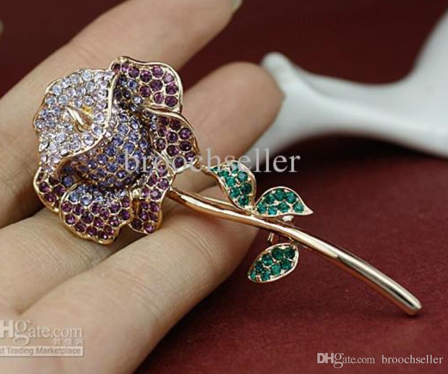 Brillante chapado en oro Muticolor Rhinestone Crystal Diamante Rose Flower Bridal broche