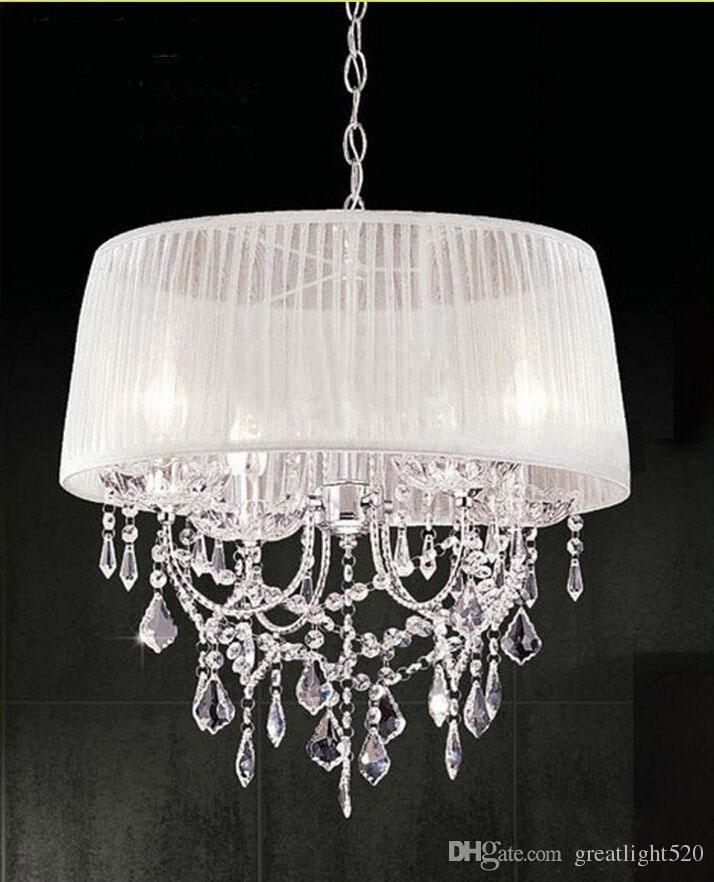 LED moderne K9 lustre en cristal clair avec abat-jour en tissu Lustre Abat lumière plafond pendentif mode lumière # 19