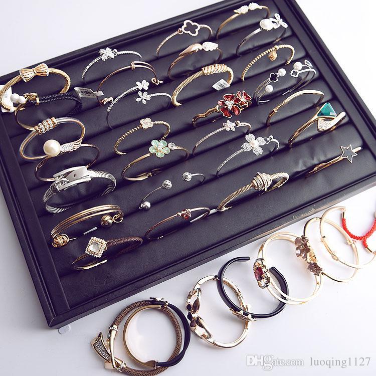 Оптовая смешанные стили 10 шт. женский сплав серебряный позолота cz горный хрусталь ювелирные изделия манжеты браслеты распродажа