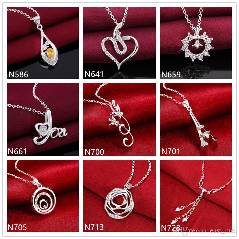 Espiral flor forma 925 colar de prata (com corrente) 10 peças por estilo misto muito, prata pedra preciosa esterlina das mulheres Colar Pingente EMP10