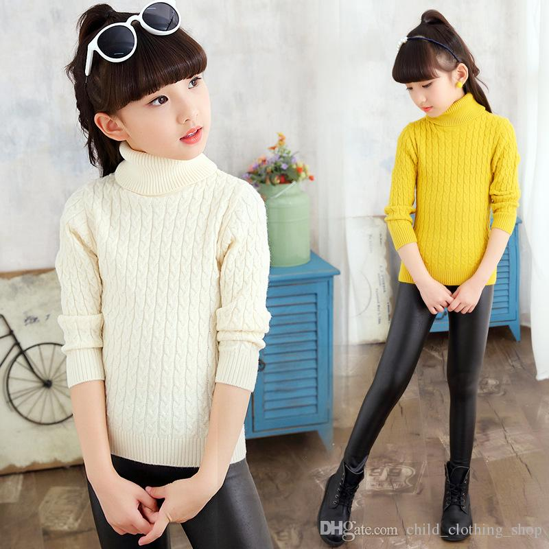2017 Sweater For Girl Knitted Girls Turtleneck Sweater Kids Cotton  Black/Pink/Red New Girl Autumn/Winter Kid US Size 4T~16T Kids Pullovers  Toddler