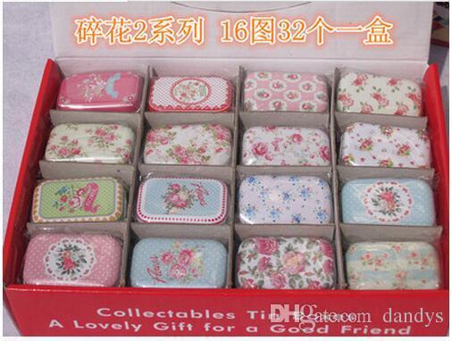 Children's stationery M51-118 New vintage small flowers series quality iron case / storage case / tin box /32 pcs per lotdandys
