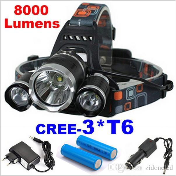 Super luminoso 3T6 8000Lm 4 modalità CREE XML 3 * T6 LED Faro Lampada frontale Lampada Torcia Campeggio Pesca Pesca Torcia Caccia