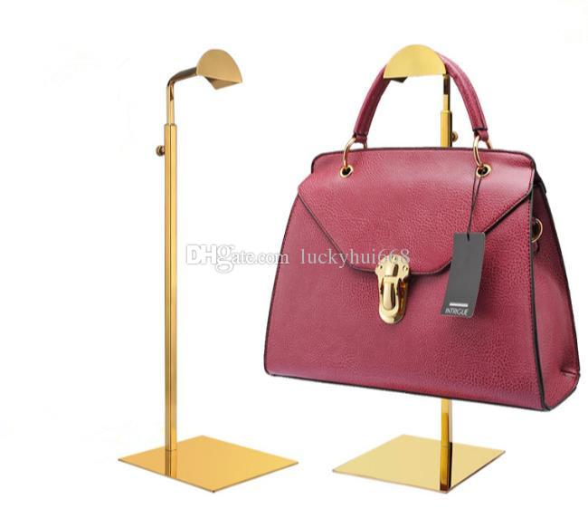 High-grade mirror Titanium gold handbag display stand women's bag display rack stainess steel hat purse wig holder colthing store props