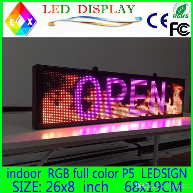 """무료 배송 26 """"x 8""""프로그래밍 가능한 LED 스크롤 메시지 표시 로그인 LED 패널 실내 보드 P5 풀 컬러"""
