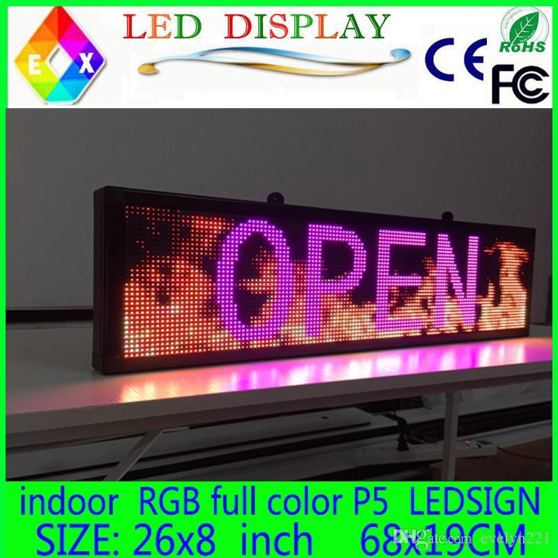 """Livraison gratuite 26 """"x 8"""" Programmable LED Scrolling Message Display Sign led panneau intérieur Conseil P5 couleur"""