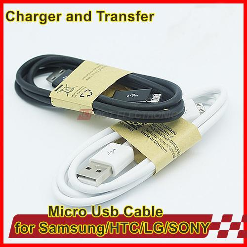 Free Shipping 1M Micro USB Data Cable charger adapter cable for Samsung Galaxy S4 S3 III Note 2 II I9500 I9300
