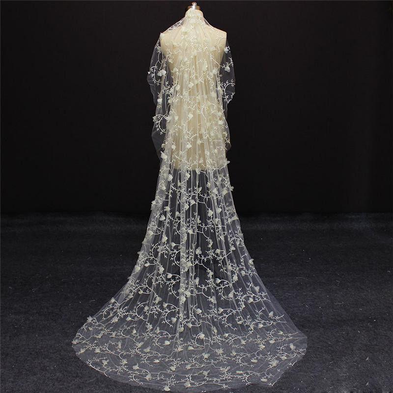 Romantic Full Lace Wedding Veil One Layer 3D Floral Appliques Bridal Accessories Long Veils For Bride