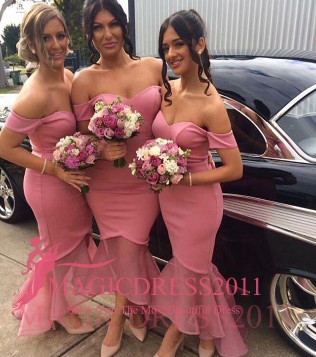 나이지리아 핑크 신부 들러리 드레스 인어 오프 어깨 오프 - Lo Backless 긴 신부 들러리 가운의 하녀의 하녀님의 드레스 플러스 사이즈