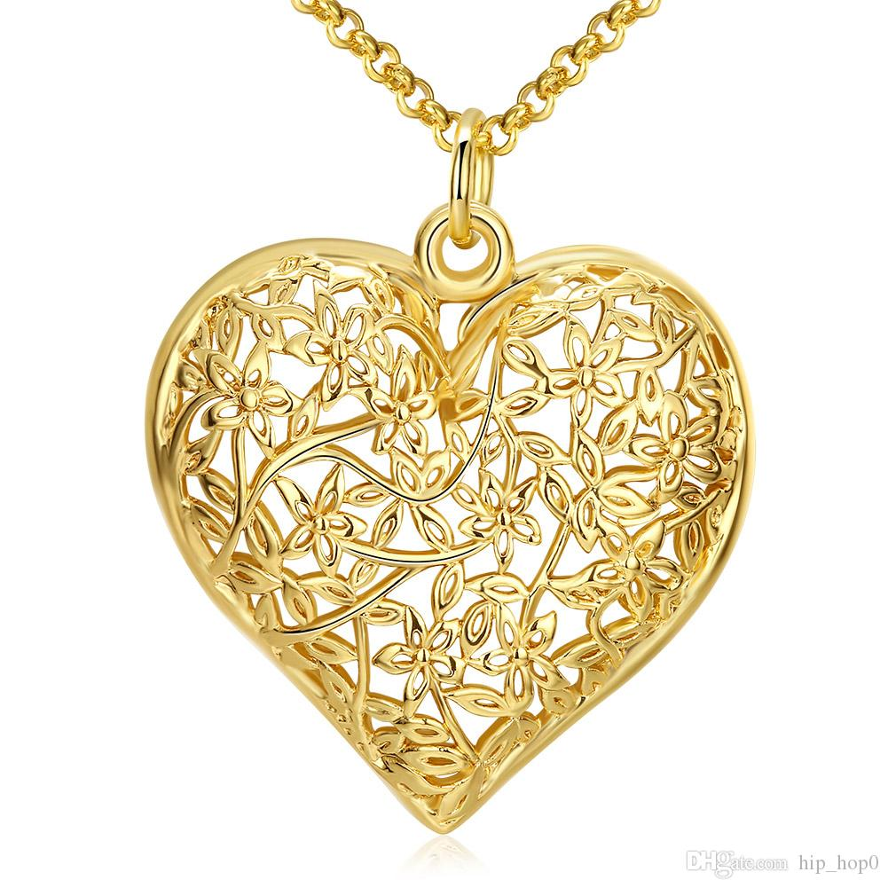 Big Hollow Out Heart Shape Pendant Necklace Flower Pattern Lovely Jewelry 18K Gold Plated Nickle Free Antiallergic Romantic Necklaces
