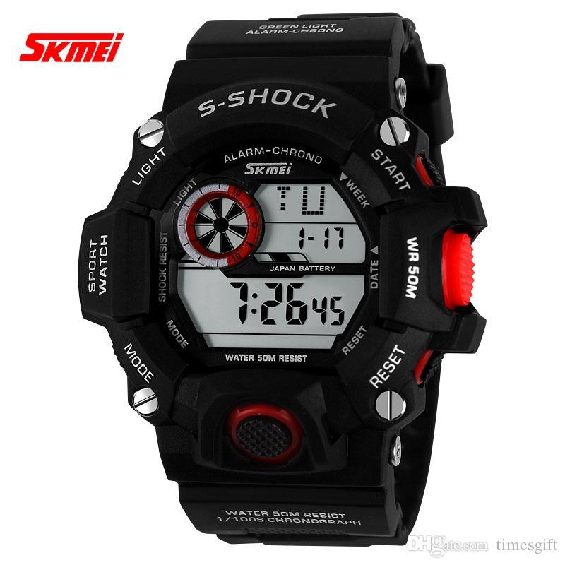 2016 skmei f 1019 correndo homem mulheres choque à prova d 'água multifuncional relógio eletrônico esportes extremos homens mulheres relógios