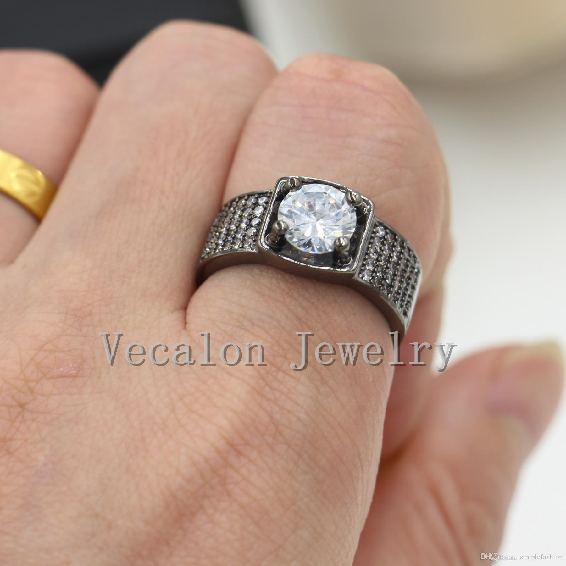 Vecalon Prong Set Solitaire 3ct Simulated Diamond Cz Wedding Band Ring  For Men 10kt Black Gold