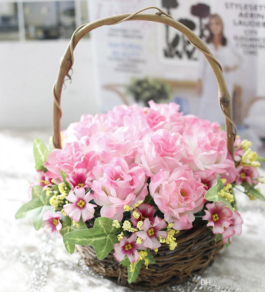 2018 Wedding Party Accessories Artificial Rose Flower Basket For ...